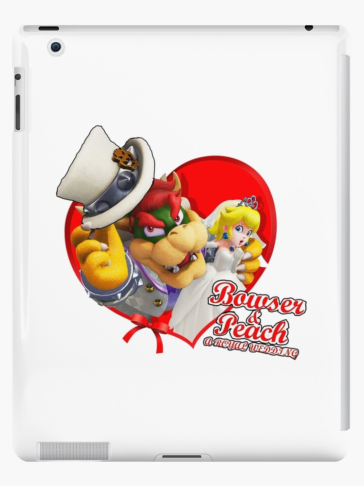 super mario odyssey bowser and peach wedding art ipad cases skins