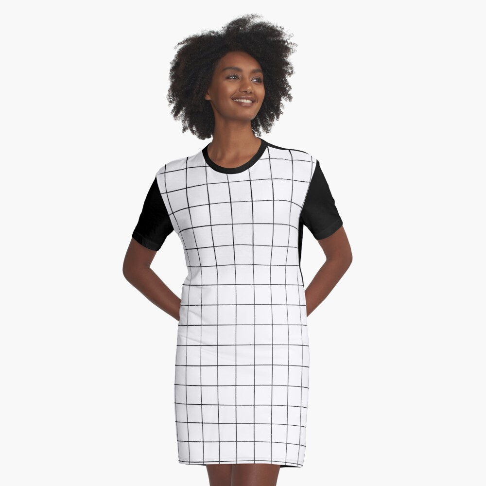 White Grid Graphic T-Shirt Dress