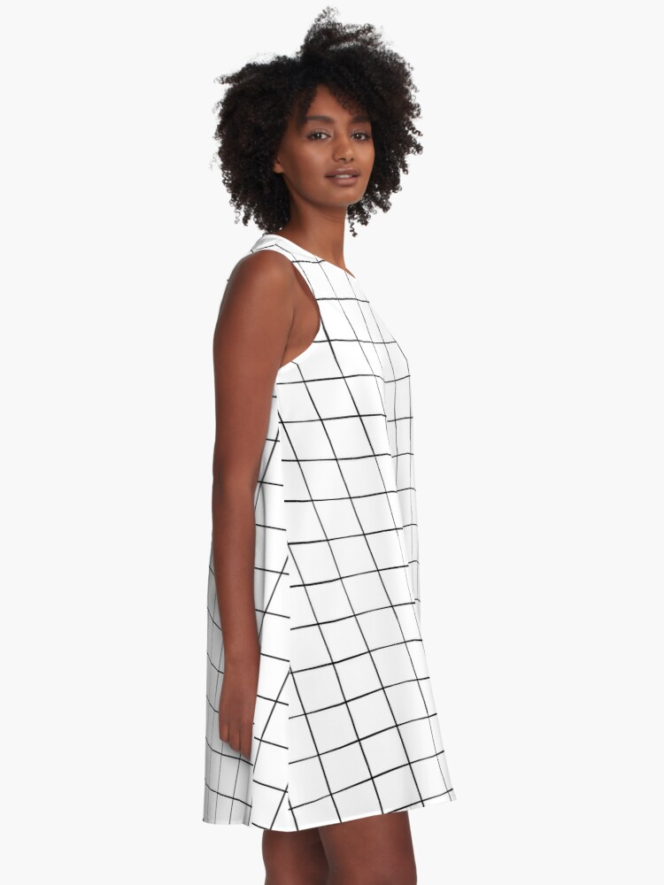 Alternate view of White Grid A-Line Dress