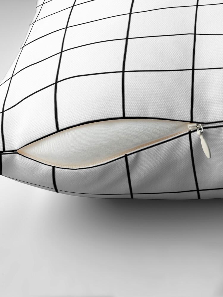 Alternate view of White Grid Throw Pillow