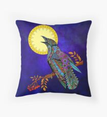 Electric Crow Throw Pillow