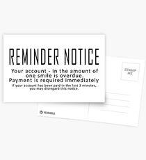 Erinnerung Hinweis Postkarten