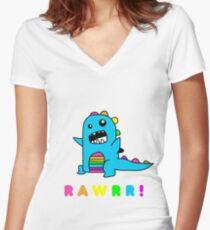 - Dinosaur! xo Women's Fitted V-Neck T-Shirt