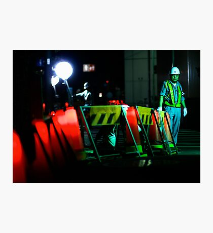 The man who waves the flashing stick; Ginza, Tokyo Photographic Print