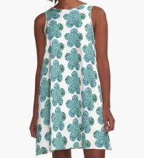 Green Broccoli Florets A-Line Dress