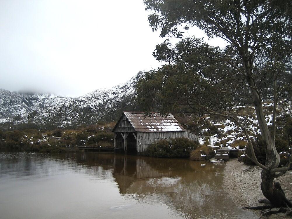 Timber Hut On The Lake - Tasmania by Lidia Sweeney