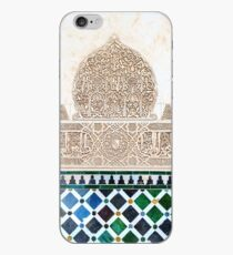 Carved Muslim inscription and tilework in the Alhambra, Granada, Spain iPhone Case