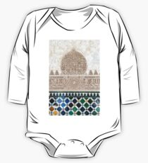 Carved Muslim inscription and tilework in the Alhambra, Granada, Spain One Piece - Long Sleeve