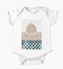 Carved Muslim inscription and tilework in the Alhambra, Granada, Spain One Piece - Short Sleeve