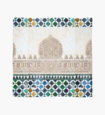 Carved Muslim inscription and tilework in the Alhambra, Granada, Spain Scarf