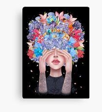 Blooming mind on black Canvas Print