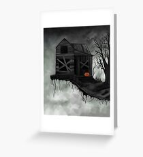 Haunted House and Jolly Pumpkin Greeting Card