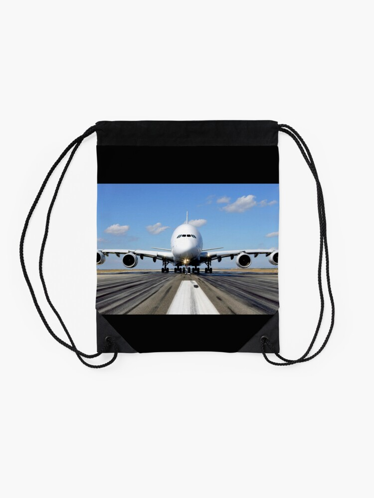 Alternate view of Airbus A380 Plane on the Runway Drawstring Bag