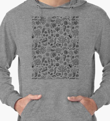 Natural Forms - Black and White - Nautical monochrome pattern by Cecca Designs Lightweight Hoodie
