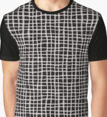 Painted Grid Print   Black Graphic T-Shirt