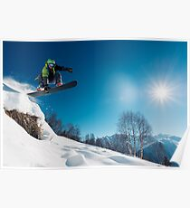 Snowboarder Jumping on a snowy mountain Poster