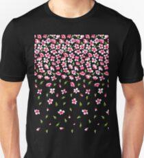 Pink flowers on black color background Unisex T-Shirt