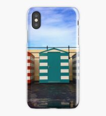 Beach huts - red, green and blue iPhone Case/Skin
