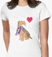 Watercolour Airedale Women's Fitted T-Shirt
