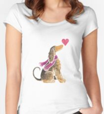 Watercolour Afghan Hound Women's Fitted Scoop T-Shirt