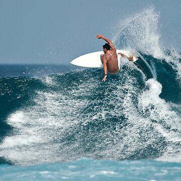 Surfer Surfing a Big Wave by DV-LTD