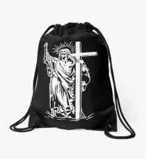 Jesus Christ and a cross Drawstring Bag