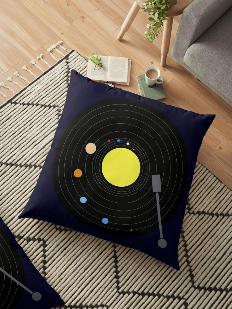 Solar System Vinyl Record Minimal Version Floor Pillow By Jezkemp