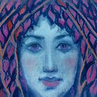 Twilight, Surreal Portrait, Fantasy  Art, Pastel Painting by clipsocallipso
