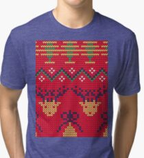 Christmas Knitted  reindeer design Tri-blend T-Shirt