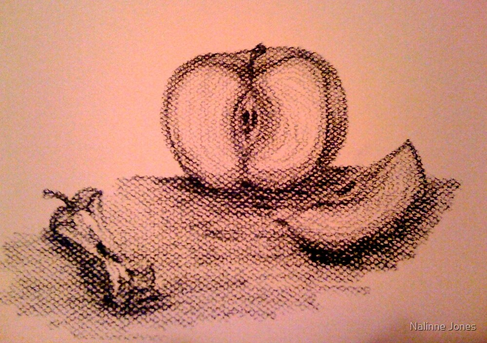 Charcoal Apple Still Life by Nalinne Jones