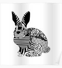 Stylish Rabbit - Hipster Bunny Design Poster