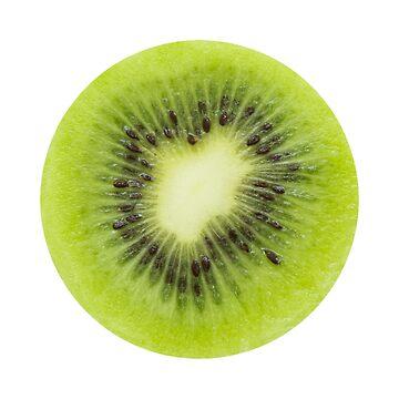 Fresh kiwi fruit. Round slice closeup isolated by igorsin