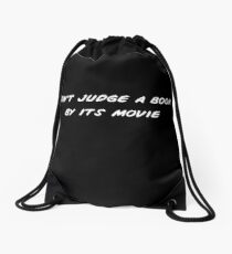 Don't Judge a Book - White Print Drawstring Bag