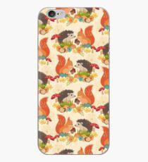 Hedgehog and Fox Art, Autumn Woodland Creature Animals  iPhone Case