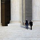 Walking Up Steps With Columns by Cora Wandel