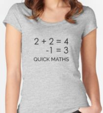 2 PLUS 2 IS 4 | Quick Maths Women's Fitted Scoop T-Shirt