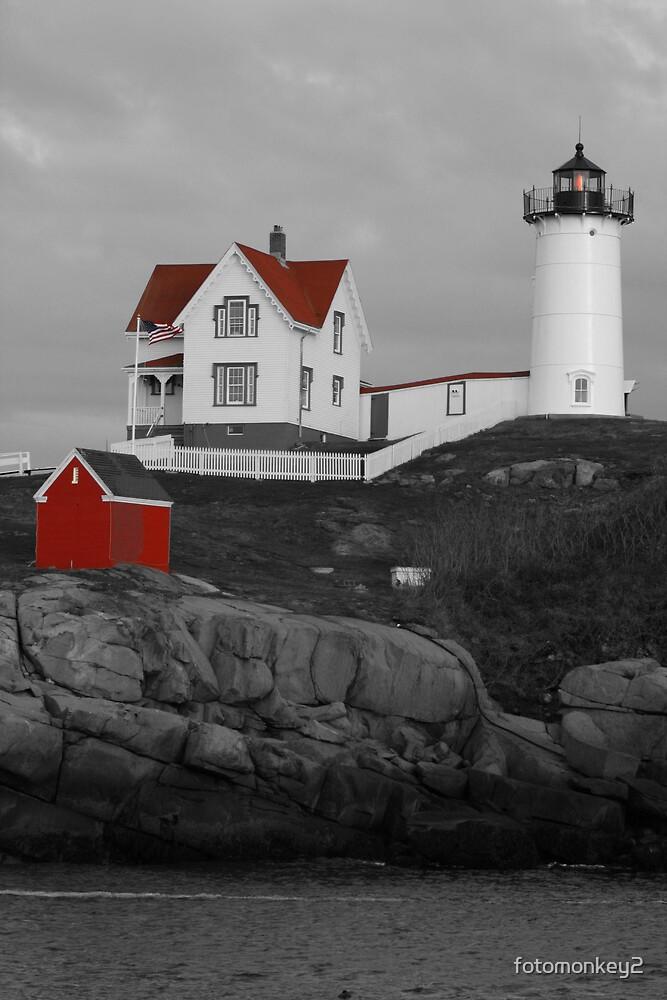 Cape Neddick Black & White w/ Red Roof by fotomonkey2