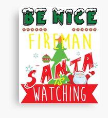 Funny Fireman Xmas Christmas Gift Idea Canvas Print