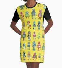 Robot Line-up on Yellow - fun pattern by Cecca Designs Graphic T-Shirt Dress