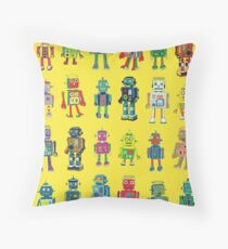 Robot Line-up on Yellow - fun pattern by Cecca Designs Throw Pillow
