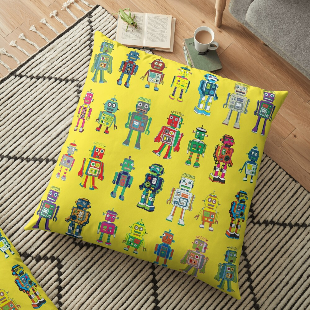 Robot Line-up on Yellow - fun pattern by Cecca Designs Floor Pillow