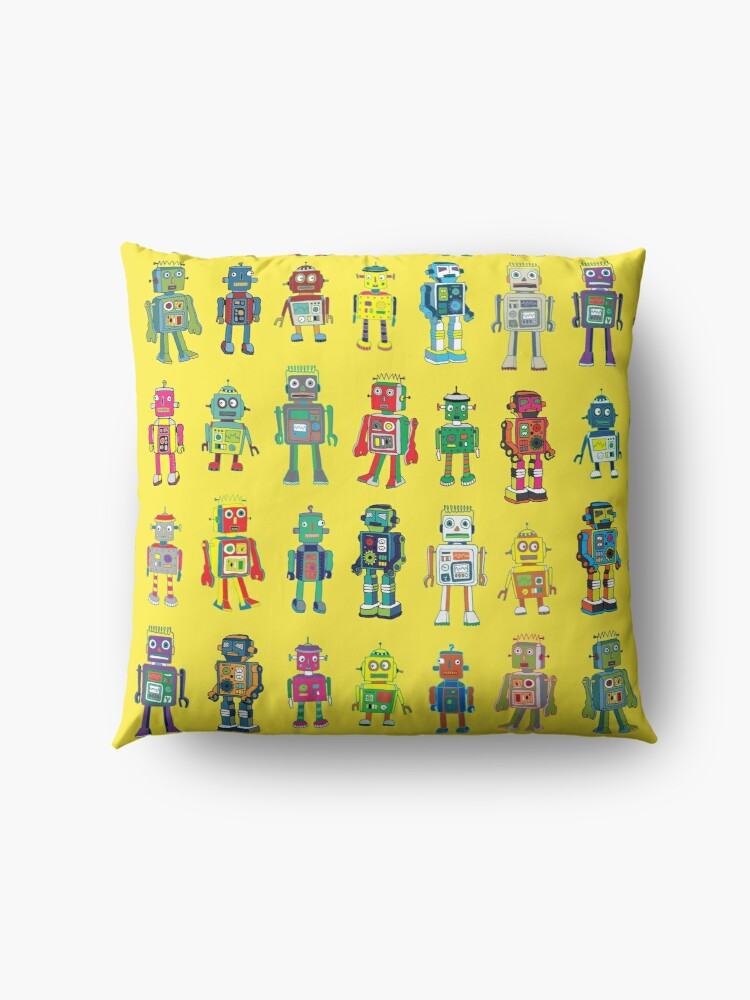 Alternate view of Robot Line-up on Yellow - fun pattern by Cecca Designs Floor Pillow