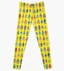 Robot Line-up on Yellow - fun pattern by Cecca Designs Leggings
