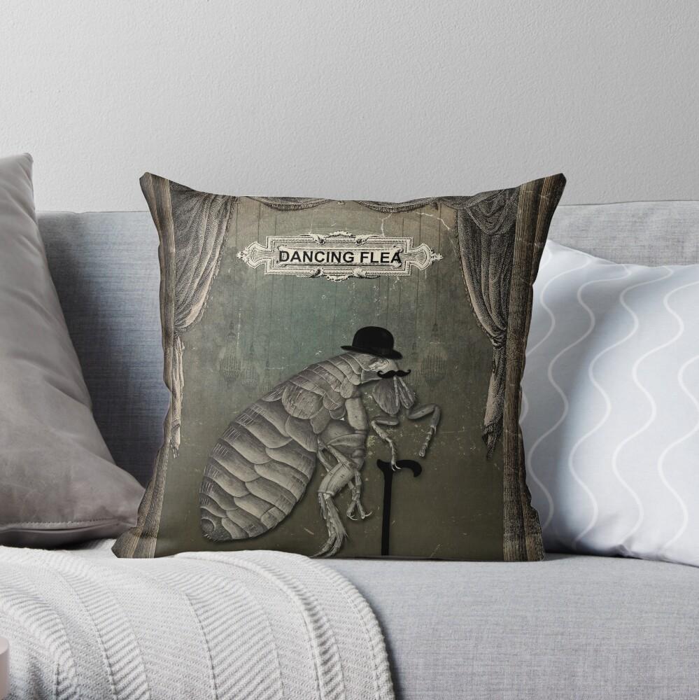 The Dancing Flea Throw Pillow