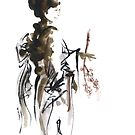 GEISHA YOUNG JAPANESE WOMAN ORIGINAL PAINTING  by Mariusz Szmerdt