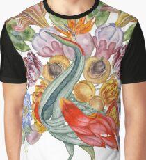 Botanical Watercolor Peacock  Graphic T-Shirt