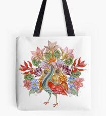 Botanical Watercolor Peacock  Tote Bag