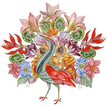 Botanical Watercolor Peacock  by HajraMeeks