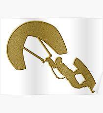 Golden Kitesurfing Sticker Poster