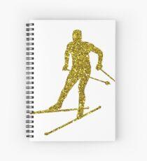 Golden Cross-country skiing Sticker Spiral Notebook